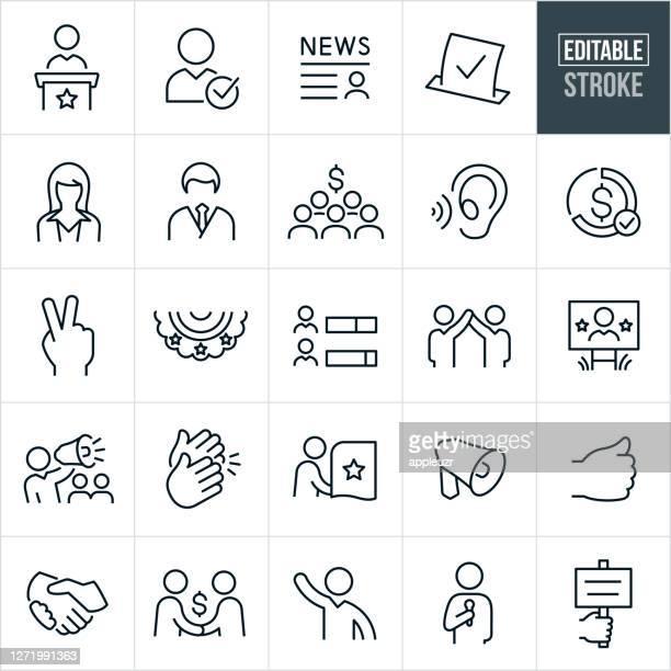 政治と選挙の細線アイコン - 編集可能なストローク - 選挙点のイラスト素材/クリップアート素材/マンガ素材/アイコン素材