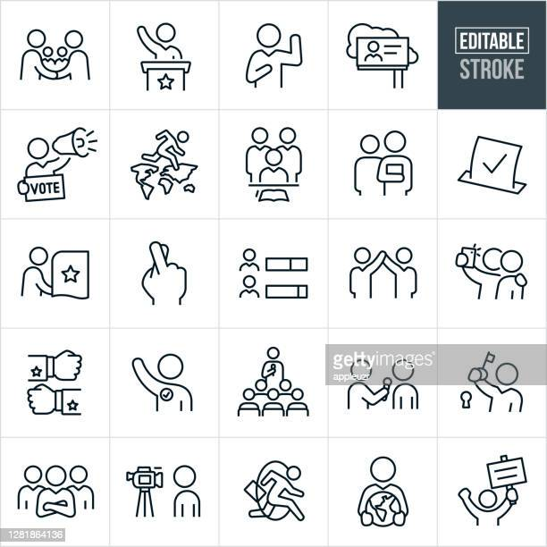 politics and election thin line icons - editable stroke - political party stock illustrations