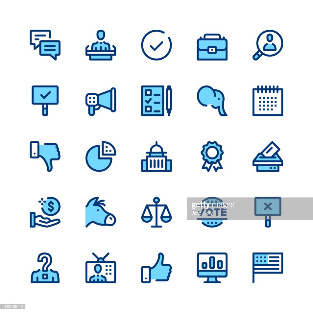 Politics and elections line icons set. Modern graphic design concepts, simple symbols, linear stroke web elements, pictograms collection. Minimal thin line design. Premium quality. Pixel perfect. Vector outline icons