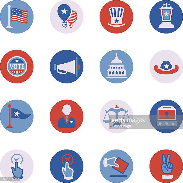 politics icon set - voting ballot stock illustrations