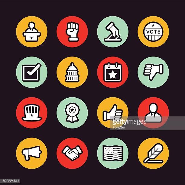 politics icons - regular outline - circle - bill of rights stock illustrations