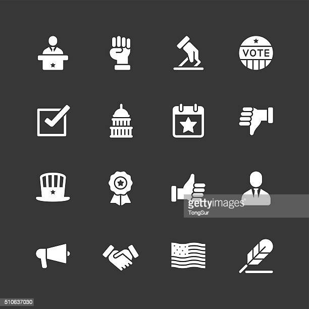 politics icons - regular - white series - bill of rights stock illustrations