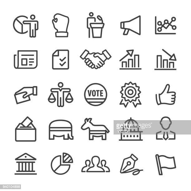 politics icons - smart line series - political rally stock illustrations, clip art, cartoons, & icons
