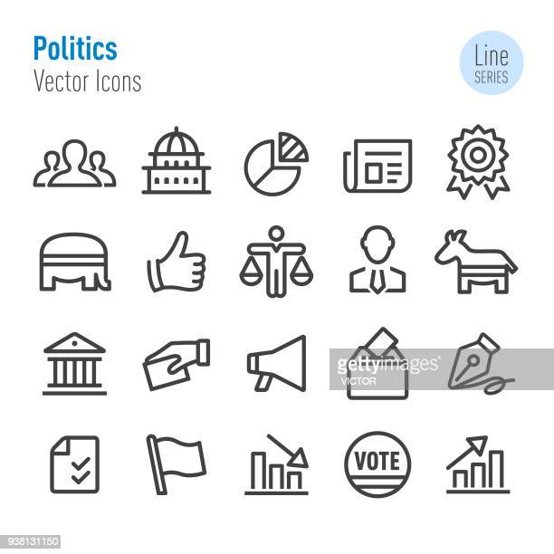politics icons - vector line series - president stock illustrations, clip art, cartoons, & icons