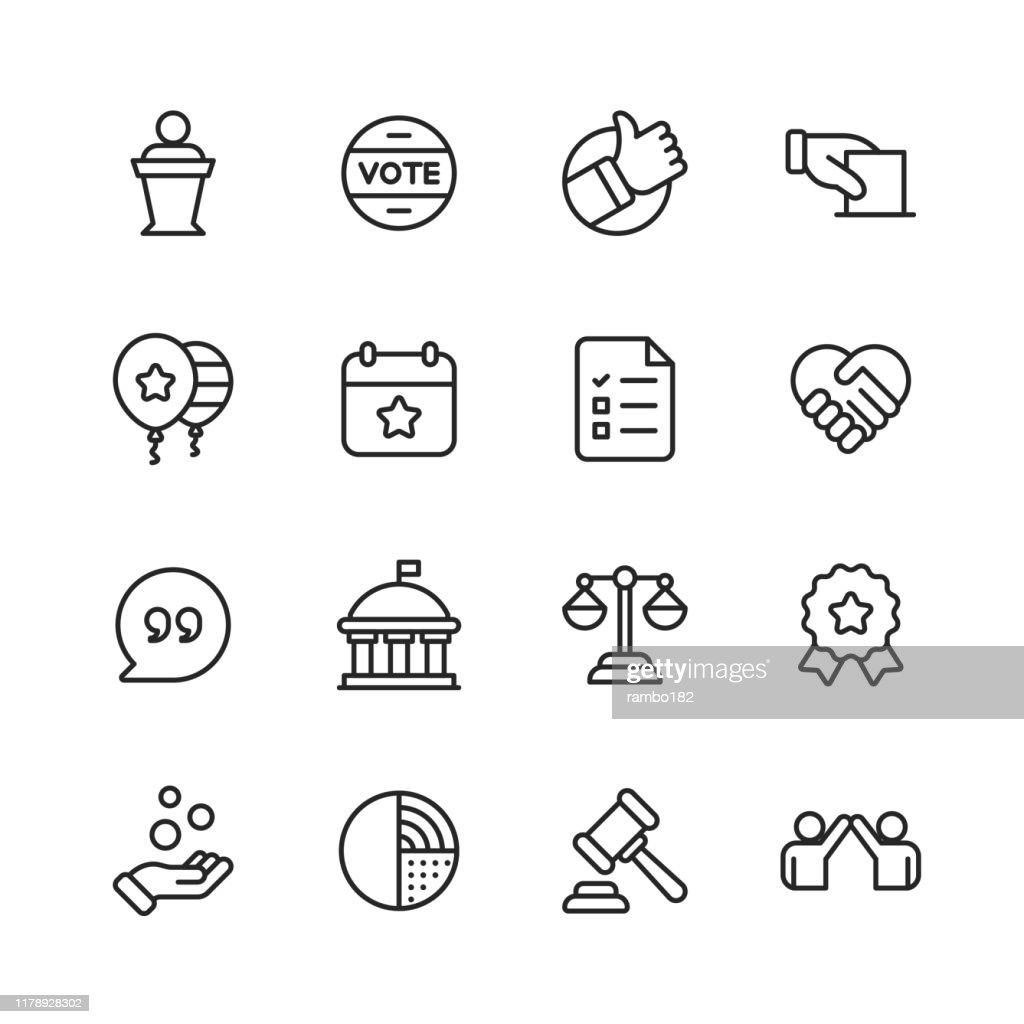 Politics Line Icons. Editable Stroke. Pixel Perfect. For Mobile and Web. Contains such icons as Voting, Campaign, Candidate, President, Handshake, Law, Donation, Government, Congress. : stock illustration