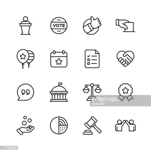 politics line icons. editable stroke. pixel perfect. for mobile and web. contains such icons as voting, campaign, candidate, president, handshake, law, donation, government, congress. - politics stock illustrations