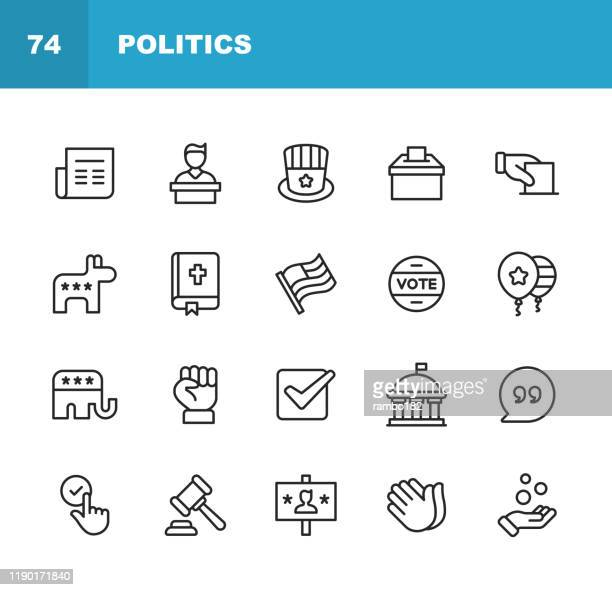 politics line icons. editable stroke. pixel perfect. for mobile and web. contains such icons as voting, campaign, candidate, president, law, donation, government, congress, republicans, democrats. - voting stock illustrations