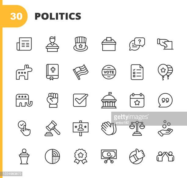 politics line icons. editable stroke. pixel perfect. for mobile and web. contains such icons as voting, campaign, candidate, president, law, donation, government, congress, republicans, democrats, bible, election, flag, debate, power. - politics icon stock illustrations