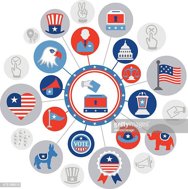 usa politics montage - political rally stock illustrations, clip art, cartoons, & icons