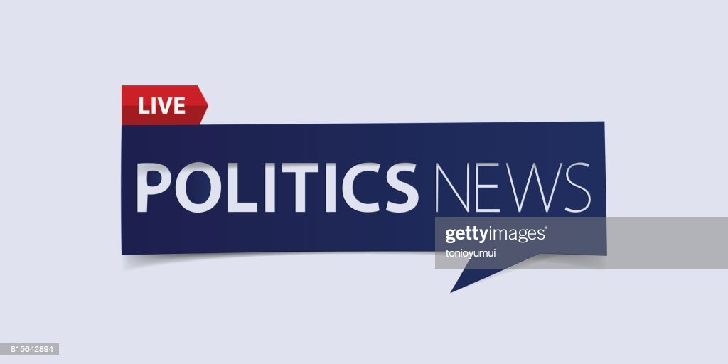 Politics news header isolated on white background. Breaking news Banner design template.