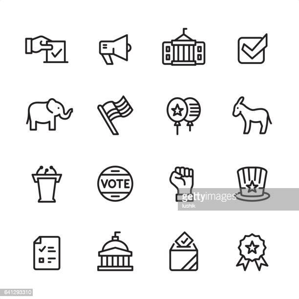 politics - outline icon set - presidential election stock illustrations