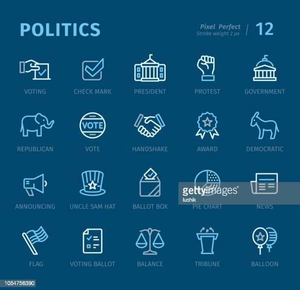 politics - outline icons with captions - presidential election stock illustrations