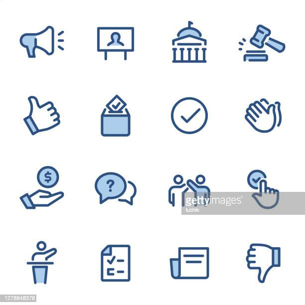 politics  - pixel perfect blue line icons - presidential election stock illustrations