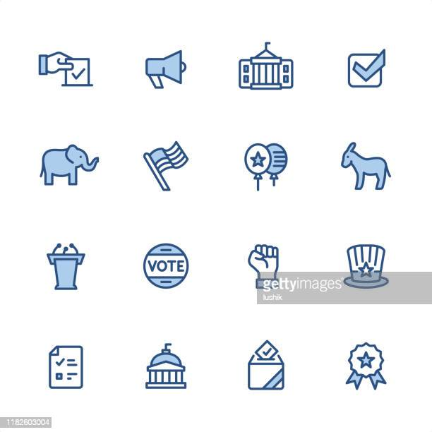 politics - pixel perfect blue outline icons - political rally stock illustrations