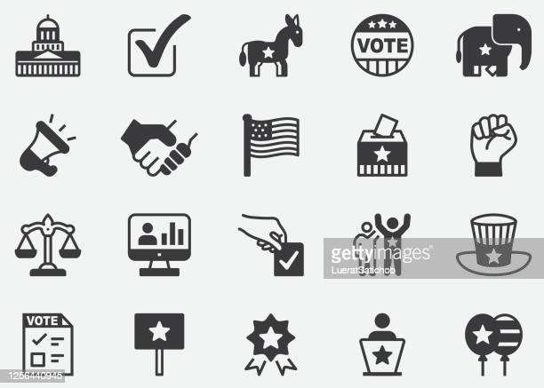 politics pixel perfect icons - us president stock illustrations