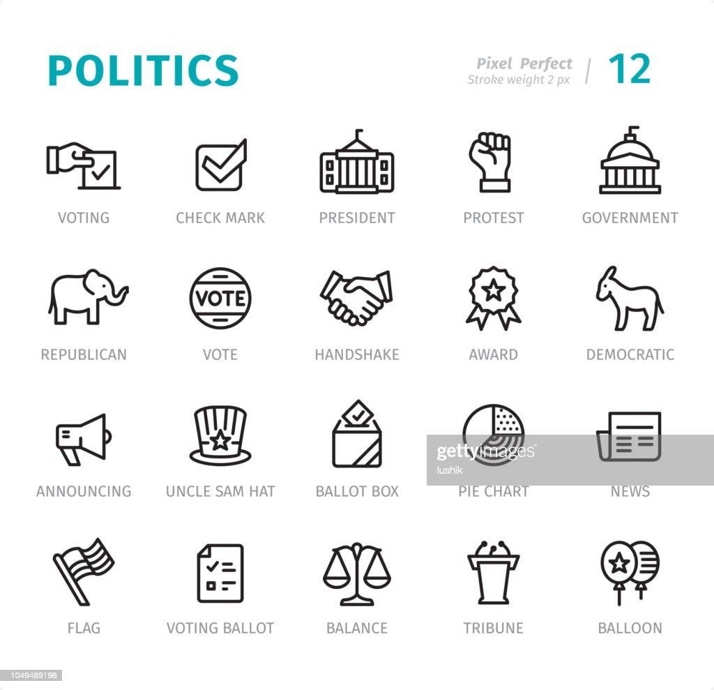 Politics - Pixel Perfect line icons with captions : stock illustration