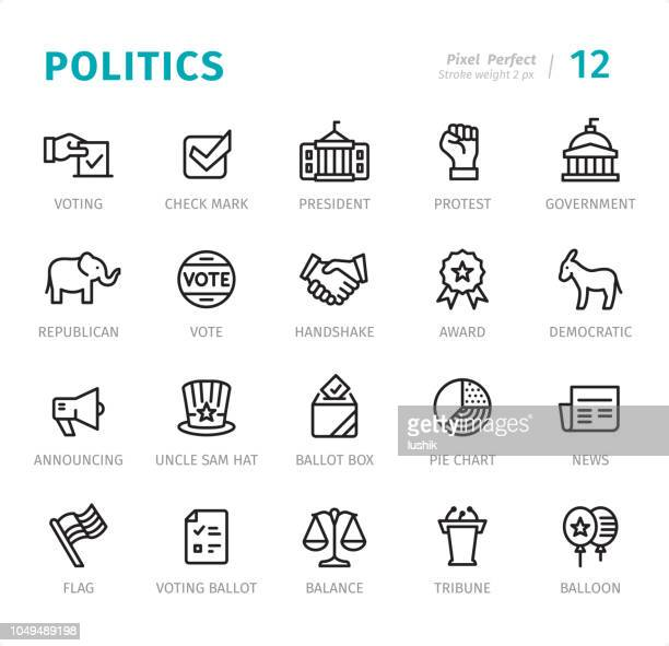 politics - pixel perfect line icons with captions - politics stock illustrations