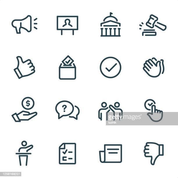 ilustrações, clipart, desenhos animados e ícones de política - ícones da linha pixel perfect unicolor - comício político