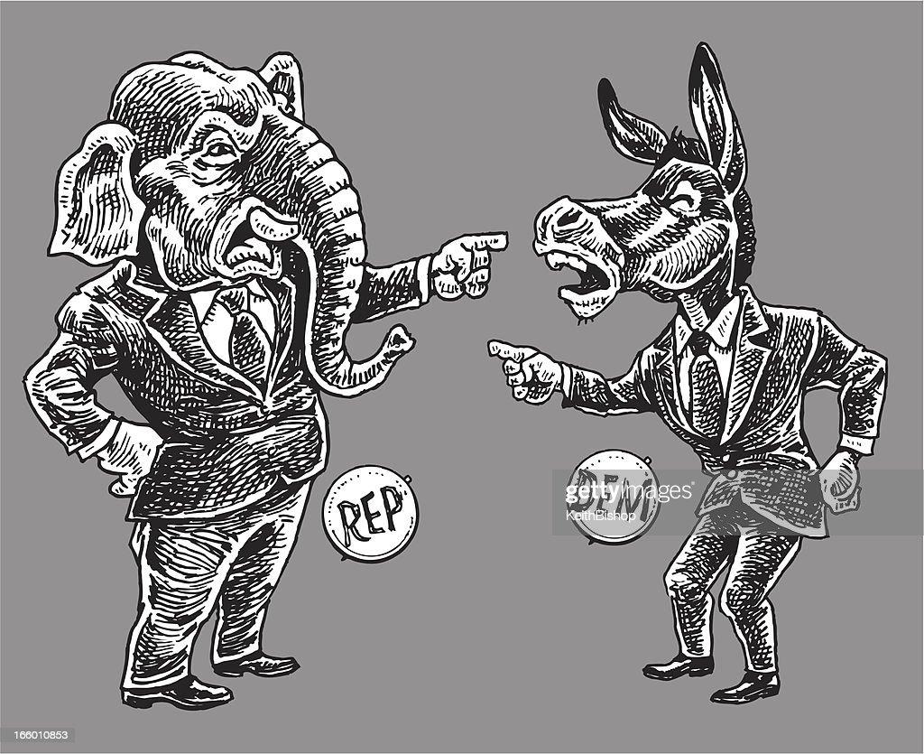 Politics - Republicans and Democrats Pointing Finger Cartoon