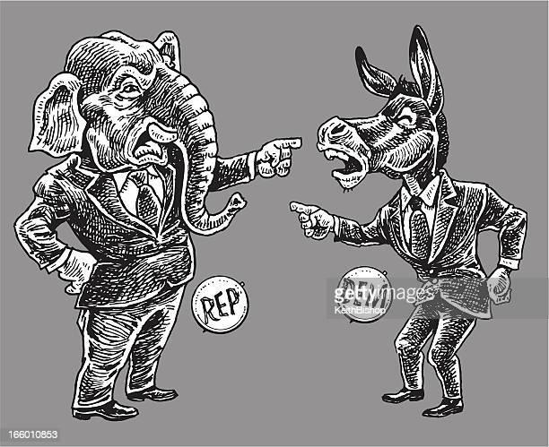 politics - republicans and democrats pointing finger cartoon - donkey stock illustrations, clip art, cartoons, & icons