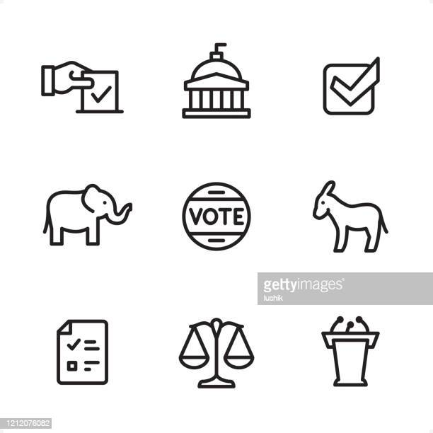 politics - single line icons - political party stock illustrations