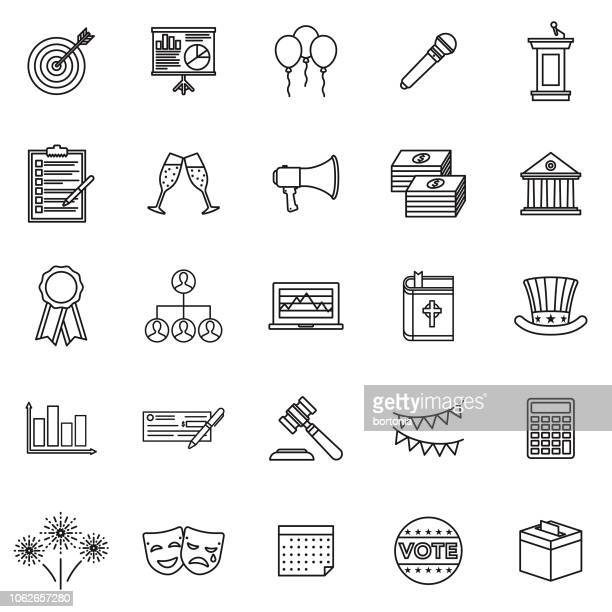 politics thin line outline icon set - prime minister stock illustrations