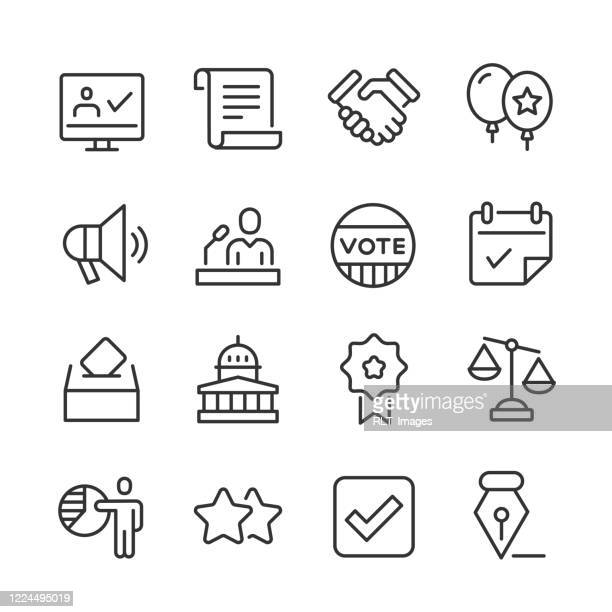 politics & voting icons — monoline series - voting ballot stock illustrations