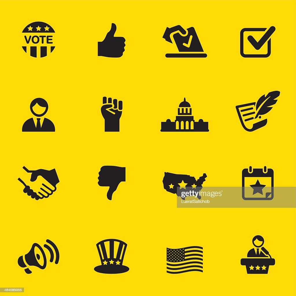 Politics Yellow Silhouette Icons 1