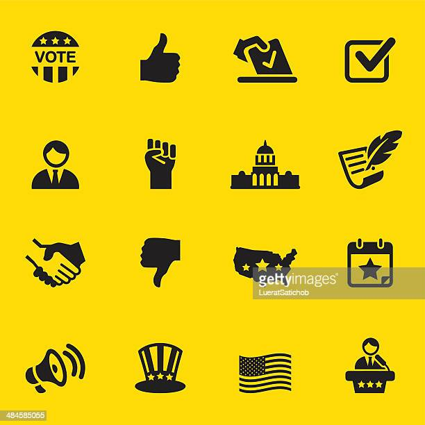 politics yellow silhouette icons 1 - bill of rights stock illustrations