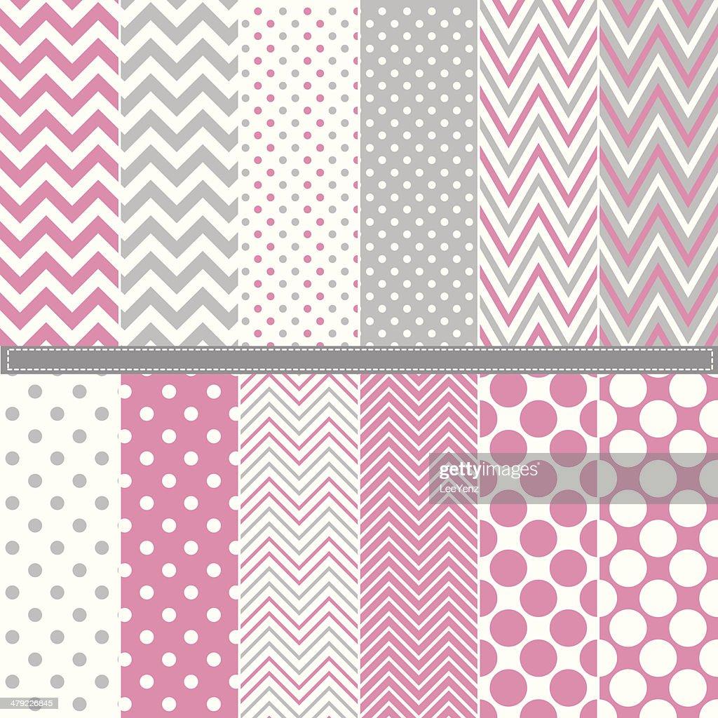 Polka Dot and Chevron seamless pattern set - Illustration
