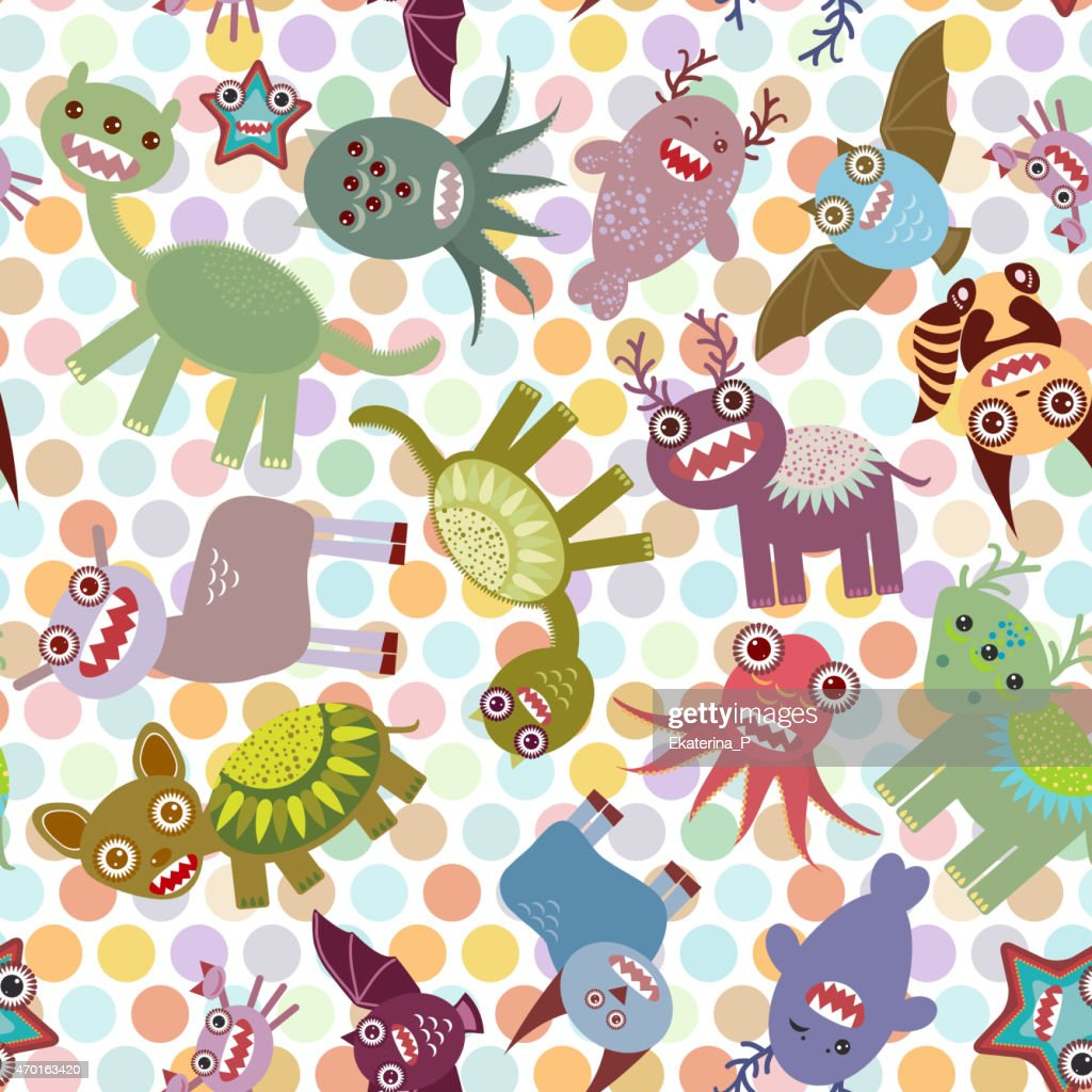 Polka dot background, seamless pattern. Funny cute dinosaur monsters. Vector