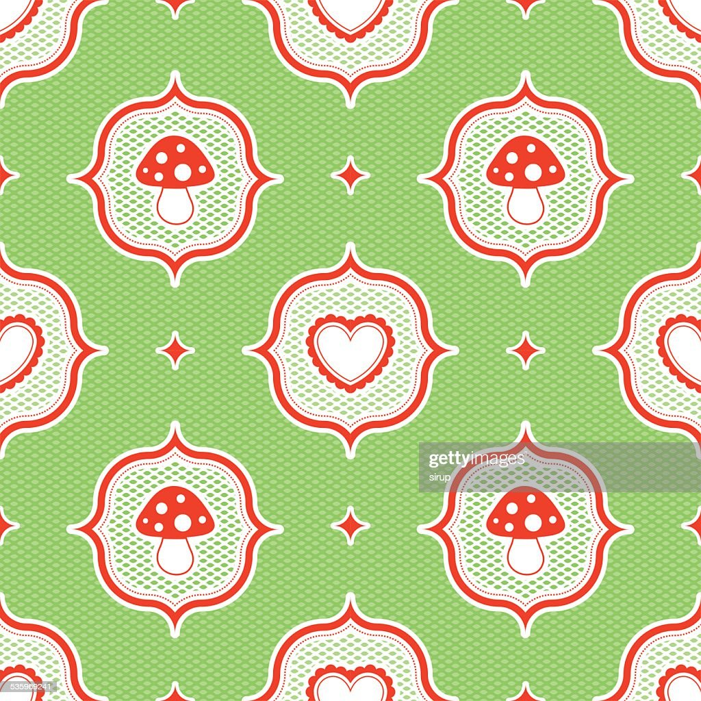 polka dot pattern with fly agaric mushroom and heart seamless : Vector Art