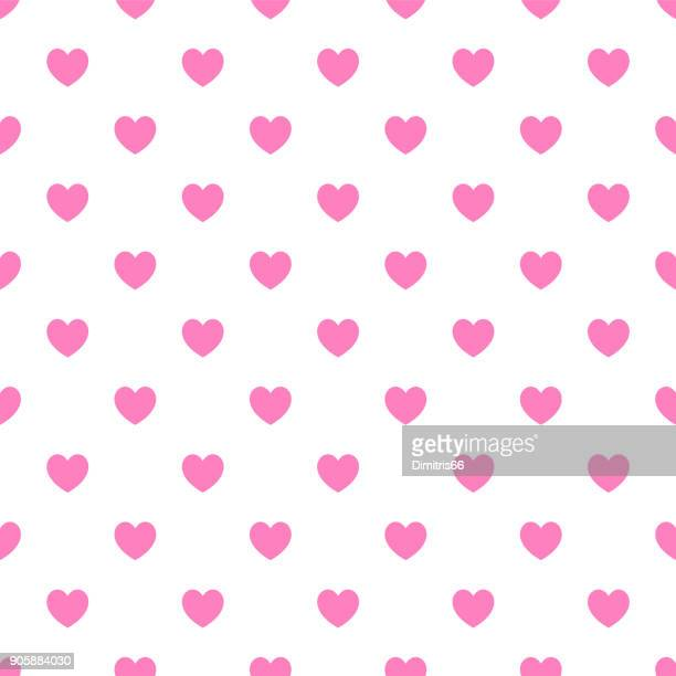 Polka dot seamless - Pink hearts on white background