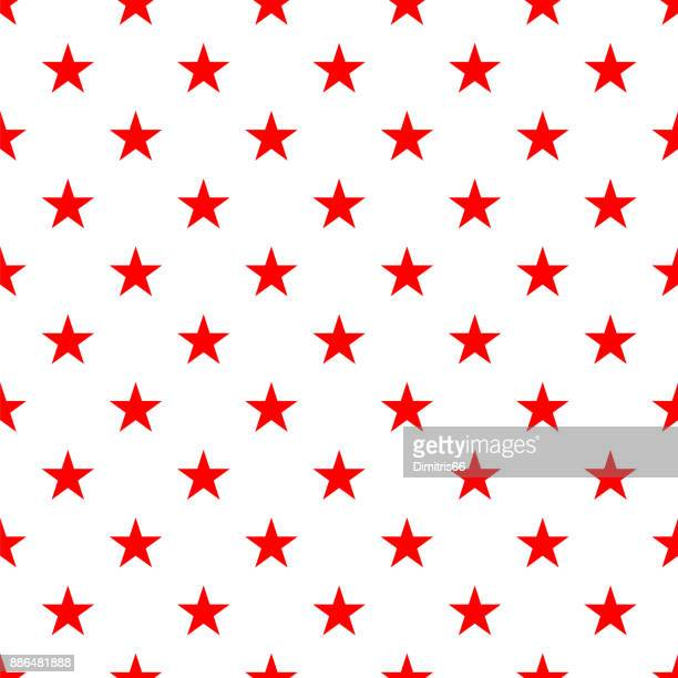 Polka dot seamless - Red stars on white background