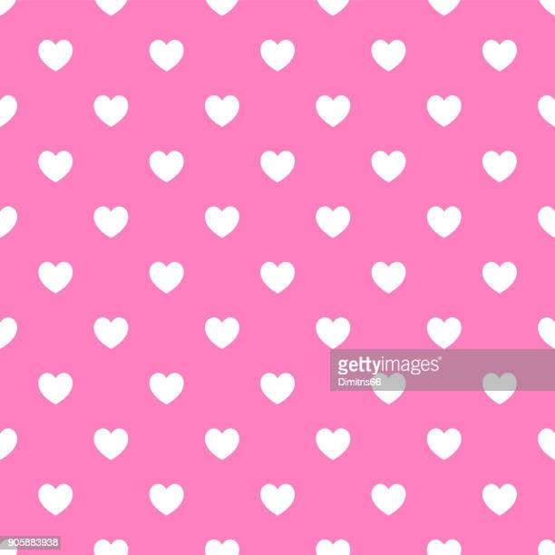 Polka dot seamless - White hearts on pink background
