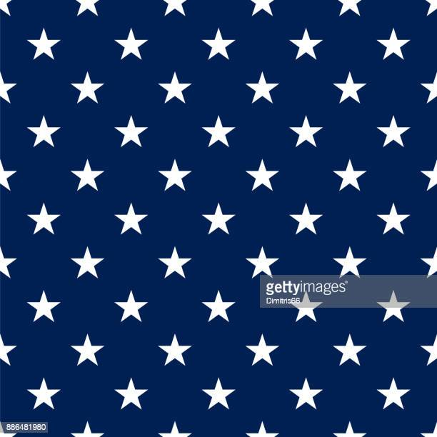 Polka dot seamless- White stars on blue background