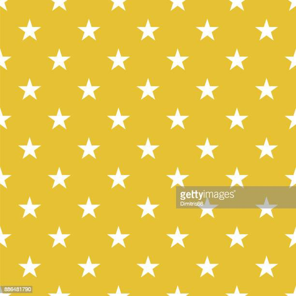 Polka dot seamless- Wite stars on gold background