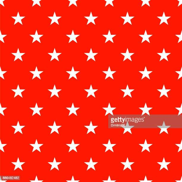 Polka dot seamless - Wite stars on red background