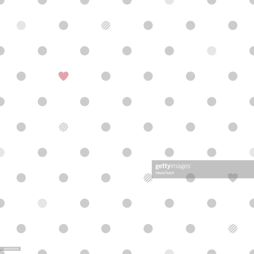 Polka dots with hearts seamless pattern - white and gray.
