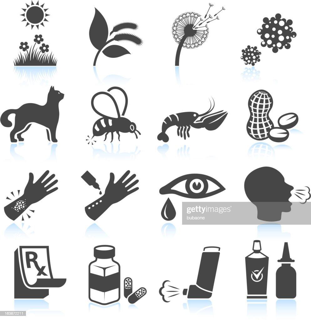 花粉自然食品アレルギーブラック&ホワイトのアイコンを設定します : ストックイラストレーション