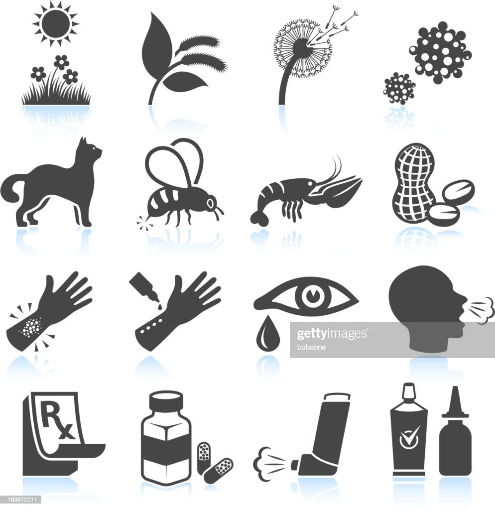 Pollen Nature and Food Allergies black & white icon set