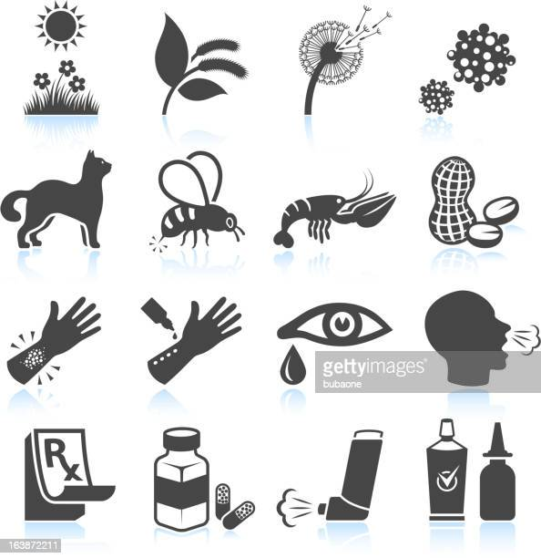 pollen nature and food allergies black & white icon set - coughing stock illustrations