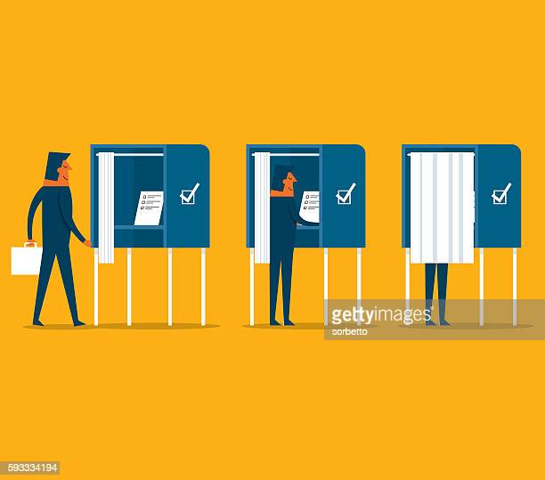polling place - voting booth stock illustrations