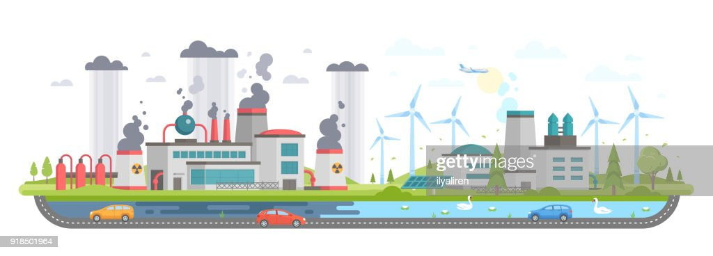 Polluted and eco area - modern flat design style vector illustration