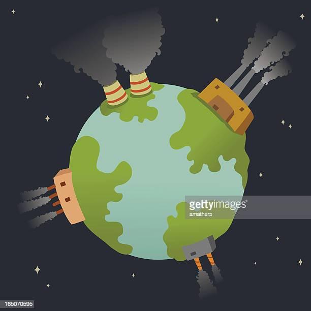 ilustraciones, imágenes clip art, dibujos animados e iconos de stock de contaminado planeta - biodiversidad
