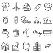 Pollution and Energy Prominent Line Icons Set