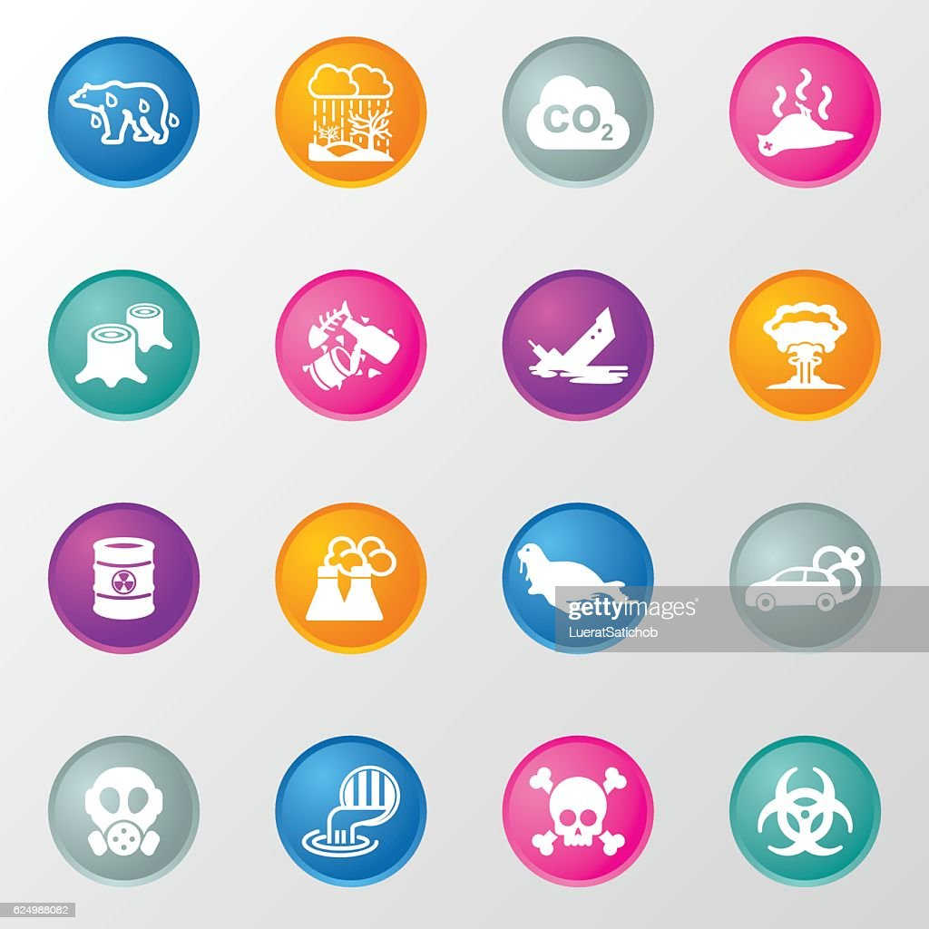 Pollution Circle Color Icons : stock illustration