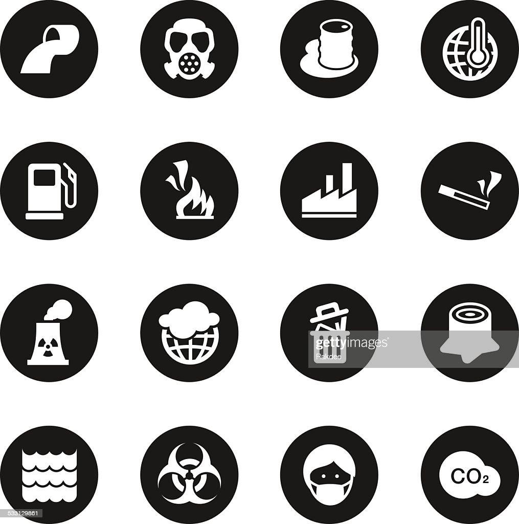 Pollution Icons - Black Circle Series
