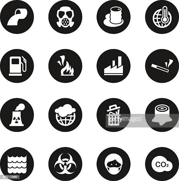 pollution icons - black circle series - water treatment stock illustrations, clip art, cartoons, & icons