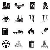 Pollution Icons. Black Flat Design. Vector Illustration.